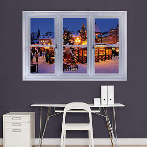 Christmas Market at Night: Instant Window Fathead Wall Decal