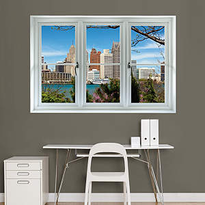 Detroit Skyline: Instant Window Fathead Wall Decal