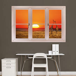 Giraffe Sunset: Instant Window Fathead Wall Decal