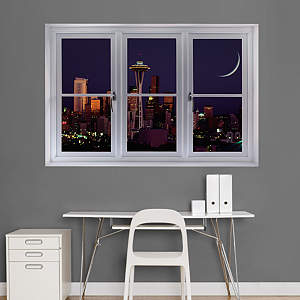 Seattle Night Skyline: Instant Window Fathead Wall Decal