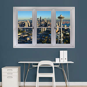 Seattle Skyline: Instant Window Fathead Wall Decal
