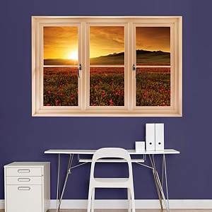 Poppy Field at Sunset, Tuscany: Instant Window Fathead Wall Decal