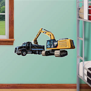 Cat Excavator and Truck - Fathead Jr. Fathead Wall Decal