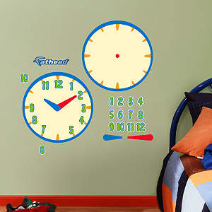 Dry Erase Learning Time Clock Fathead Wall Decal