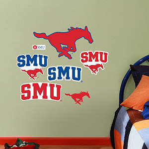 SMU Mustangs - Team Logo Assortment Fathead Wall Decal