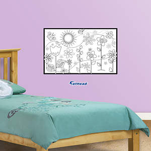 Dry Erase Floral Coloring Sheet Fathead Wall Decal