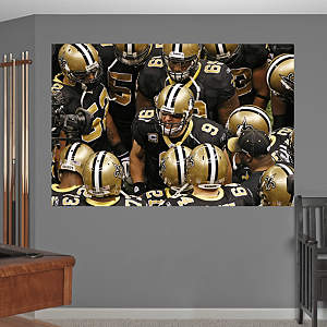 Saints Huddle In Your Face Mural Fathead Wall Decal