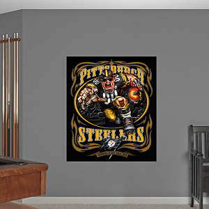 Steamroller Steeler - Grinding It Out Mural Fathead Wall Decal