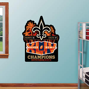 Saints Super Bowl XLIV Champions Logo Fathead Wall Decal