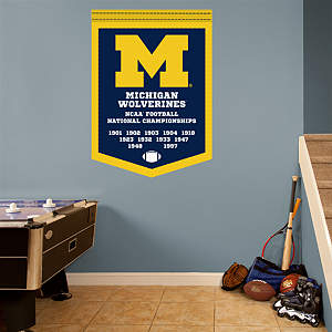 Michigan Wolverines Football National Championships Banner Fathead Wall Decal