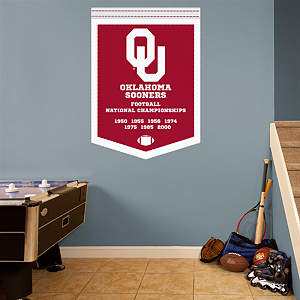 Oklahoma Sooners Football National Championships Banner Fathead Wall Decal