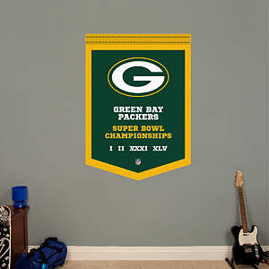 Green Bay Packers Super Bowl Champions Banner Fathead Wall Decal