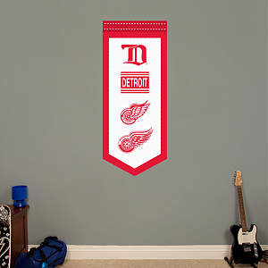 Detroit Red Wings Logo Evolution Banner Fathead Wall Decal