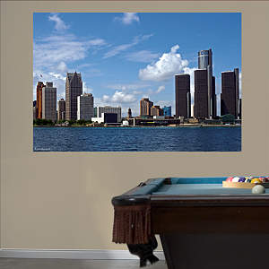 Detroit Skyline Mural Fathead Wall Decal