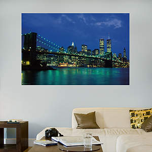 New York City Twin Towers Nightscape Mural Fathead Wall Decal