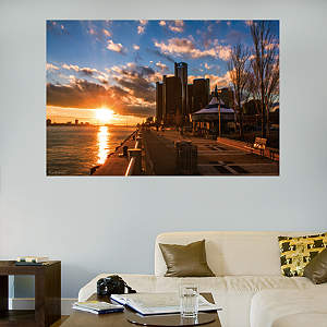 Detroit Riverwalk Sunset Mural Fathead Wall Decal