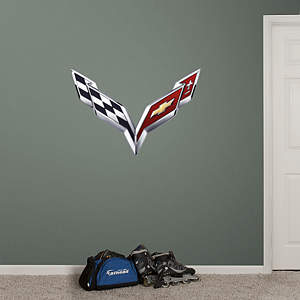 Corvette Crossed Flags Fathead Wall Decal