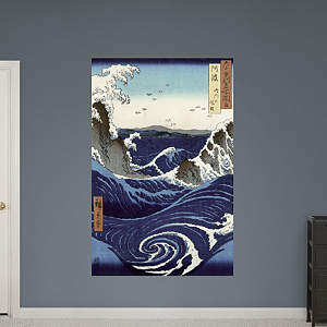 View of the Naruto Whirlpools at Awa by Hiroshige Fathead Wall Decal