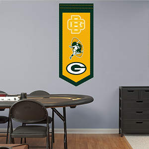 Green Bay Packers Logo Evolution Banner Fathead Wall Decal