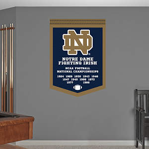 Notre Dame Football National Championships Banner Fathead Wall Decal