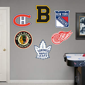 Original Six Vintage Logos Fathead Wall Decal