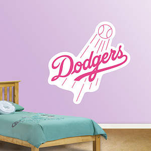 Los Angeles Dodgers Pink Logo Fathead Wall Decal