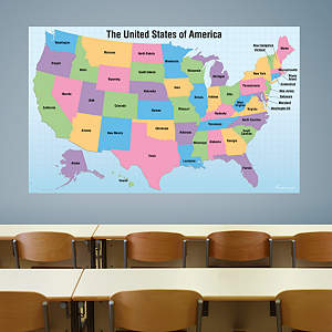 Dry Erase USA Map With Removable Capital Names Fathead Wall Decal