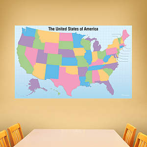 Dry Erase USA Map With Removable State Names Fathead Wall Decal