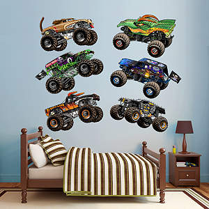 Cartoon Monster Truck wall decal collection