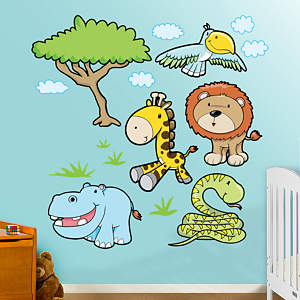 Jungle Animals Group Three Fathead Wall Decal