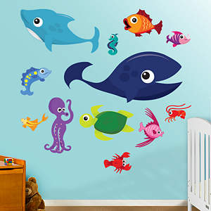 Sea Creatures Group One Fathead Wall Decal