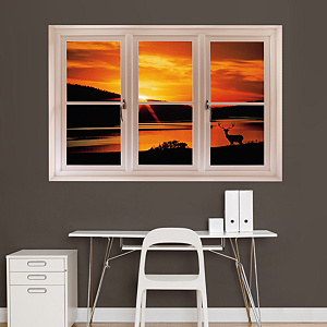 Deer at Sunset: Instant Window Fathead Wall Decal