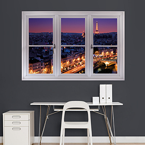 Paris Skyline at Night: Instant Window Fathead Wall Decal