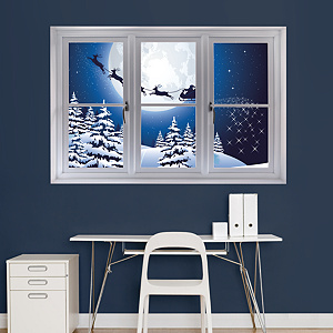 Santa Sleigh: Instant Window Fathead Wall Decal