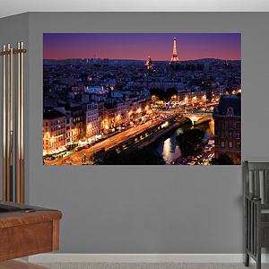 Paris Skyline By Night Mural Fathead Wall Decal