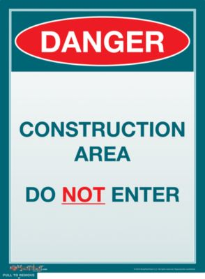 Danger, Construction Area, Do Not Enter Sign - Product