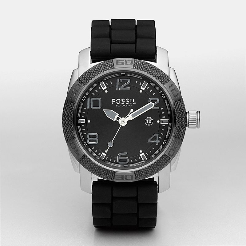 Silicone Three Hand Black Dial