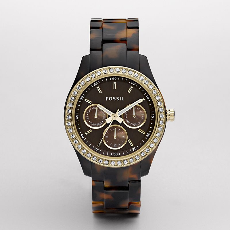 Stella Resin Watch-Tort with Gold-Tone