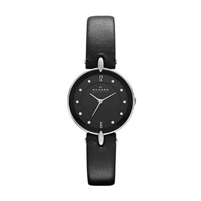 Skagen black leather Hiromichi Konno watch