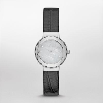 Skagen black three hand embossed snakeskin watch