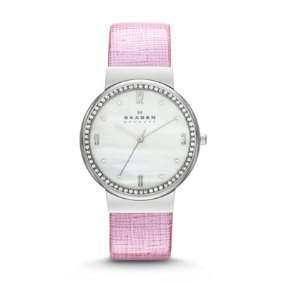Skagen leather and crystal three hand watch