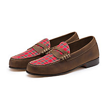 PLAID WEEJUNS DARK BROWN