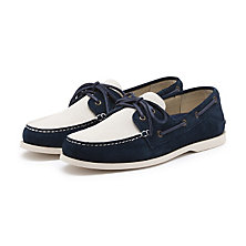 HAMPTON SUEDE BOATER WHITE/BLUE