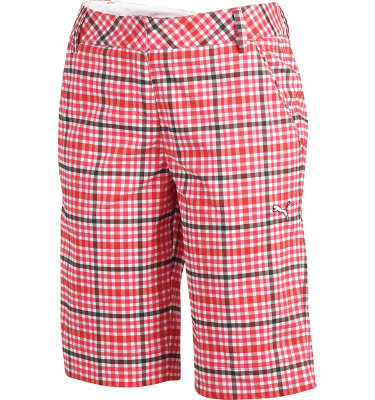 PUMA Women's Golf Plaid Tech Flat Front Bermuda Short