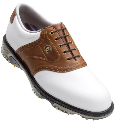 FootJoy Men's DryJoy Tour Saddle Golf Shoes - White/Taupe (Disc Style 53733)
