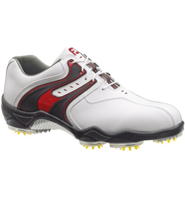 FootJoy Men's DryJoy Golf Shoe - White/Black/Red (Disc Style 53689)