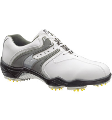 FootJoy Men's DryJoy Golf Shoe - White/Grey Silver (Disc Style 53672)
