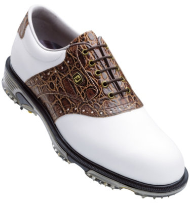 FootJoy Men's DryJoys Tour Saddle Golf Shoe - White/Brown (Disc Style 53754)