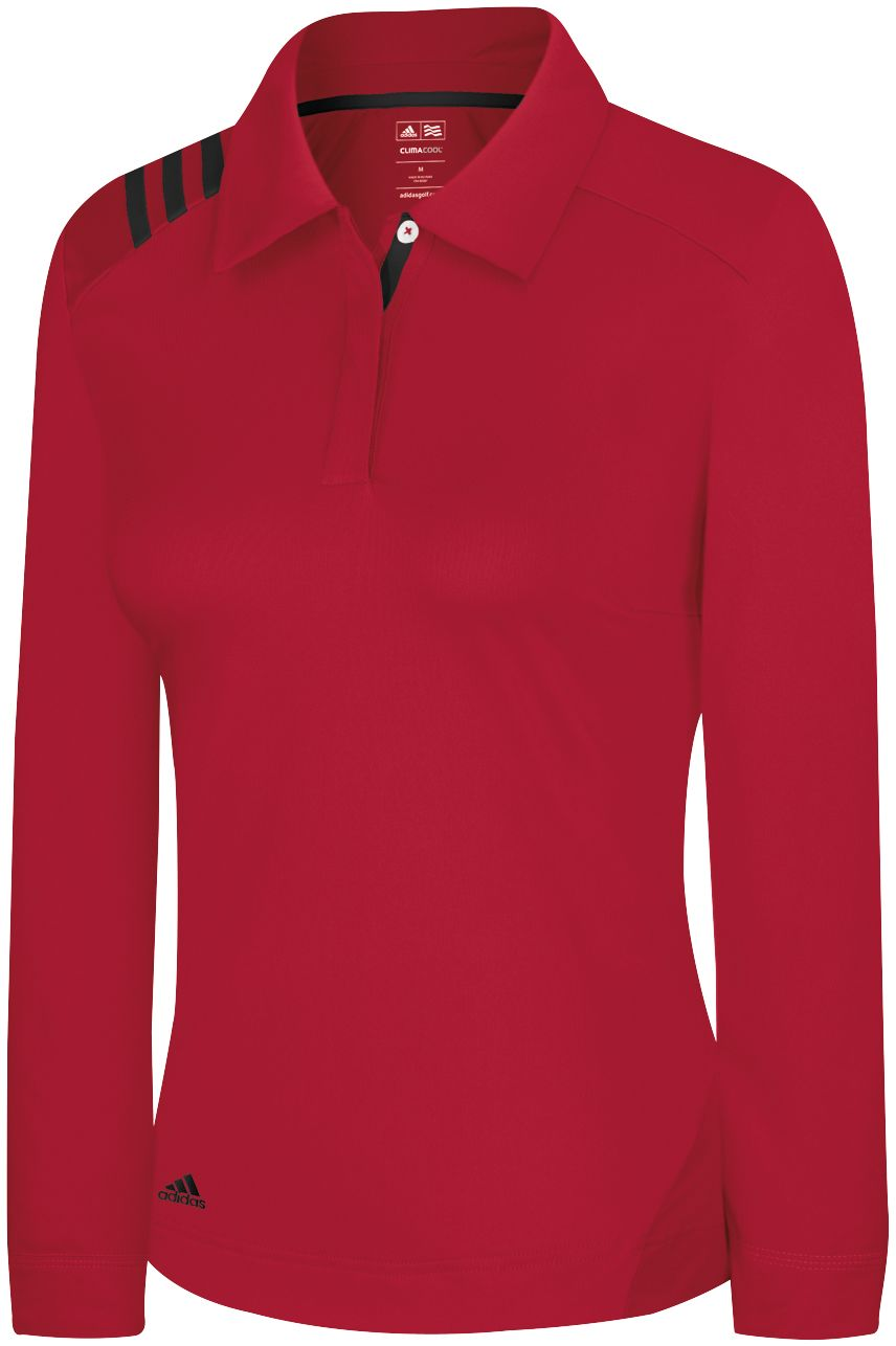 adidas Women's 3-Stripe CLIMALITE Long Sleeve Polo