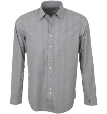 Ashworth Men's Woven Plaid Long Sleeve Polo